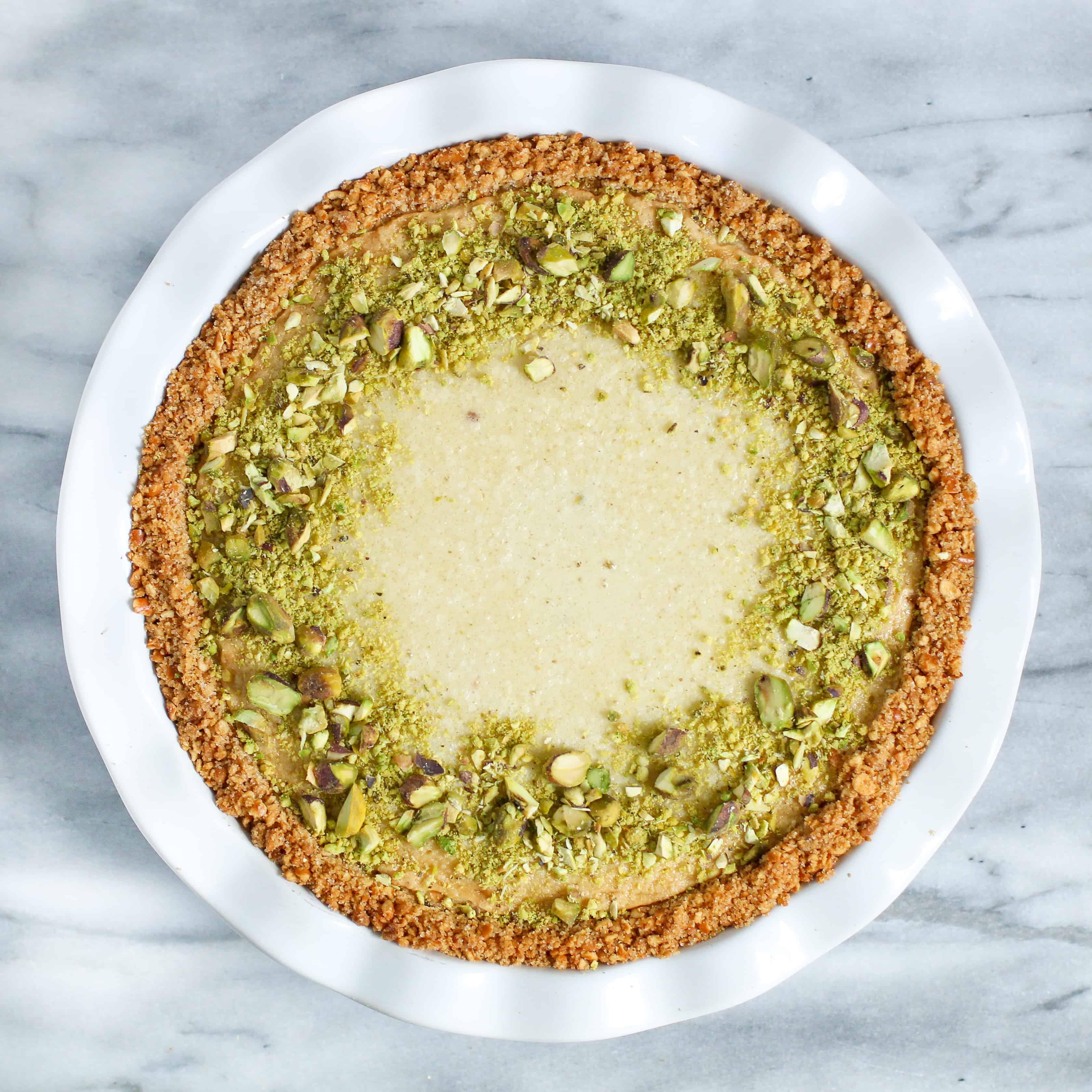 decorated pistachio pie without whipped cream