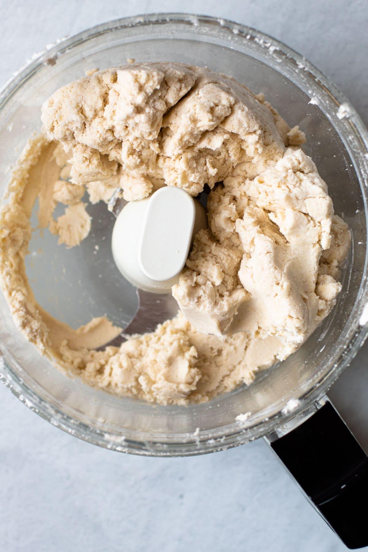 Gluten-free pie crust in a food processor.