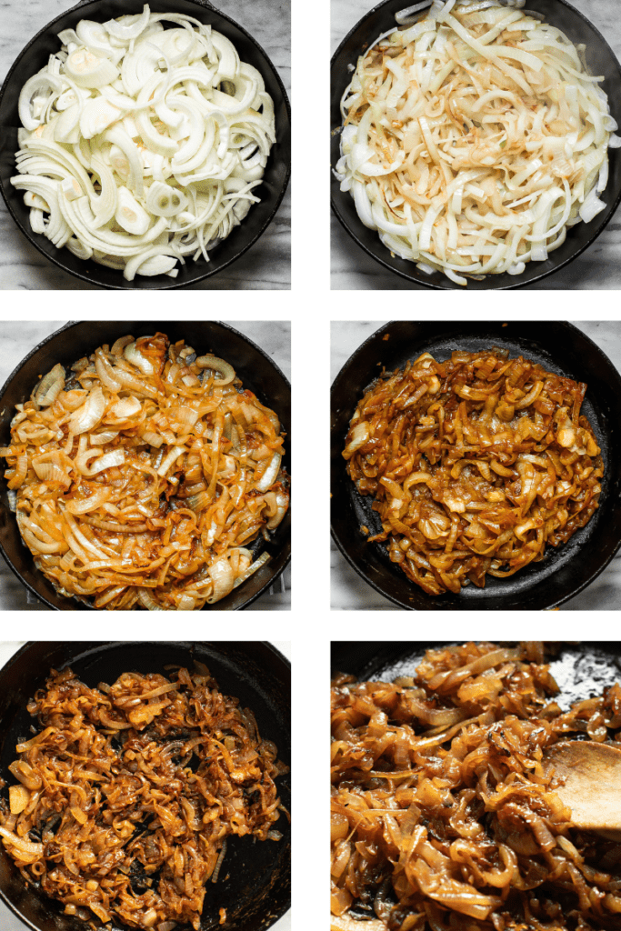 Step by step photos of how caramelized onions look when they're being cooked.