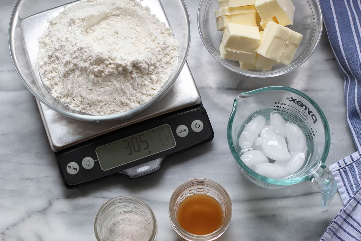ingredients on a kitchen scale