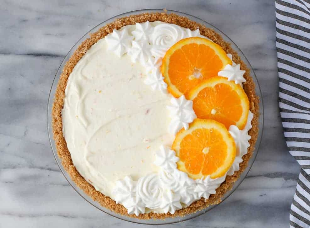 Whole orange creamsicle pie