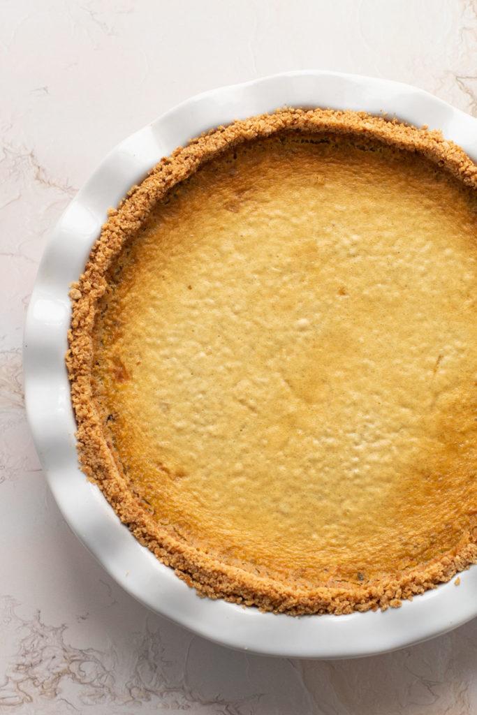 A baked pistachio custard pie.