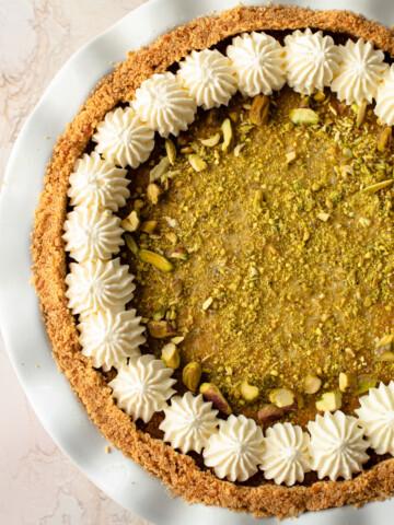 Pistachio Pie with Mascarpone.