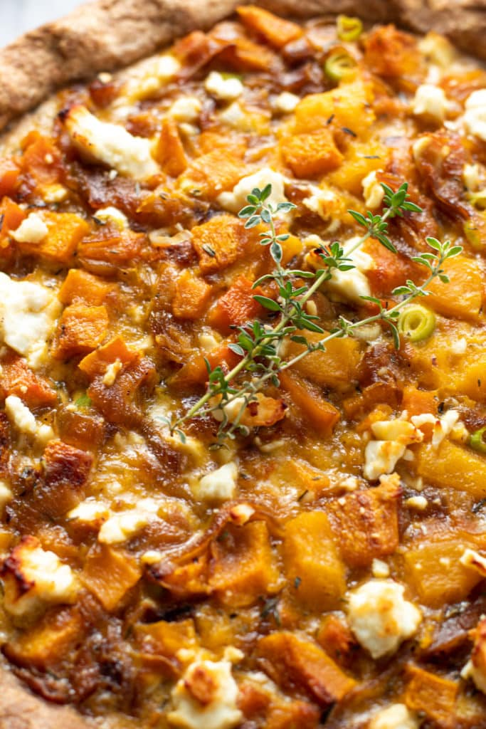 Savory squash pie with onions and feta.