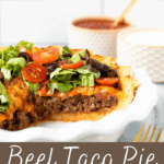 Beef taco pie with with taco fixings on top