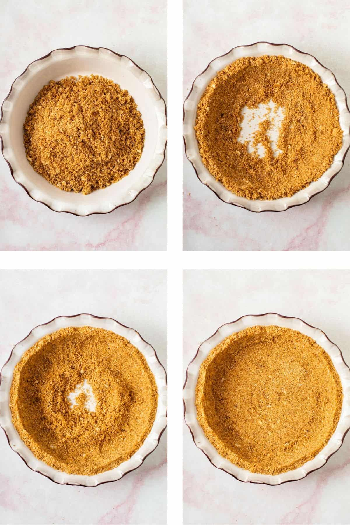 Steps needed to form a graham cracker crust.