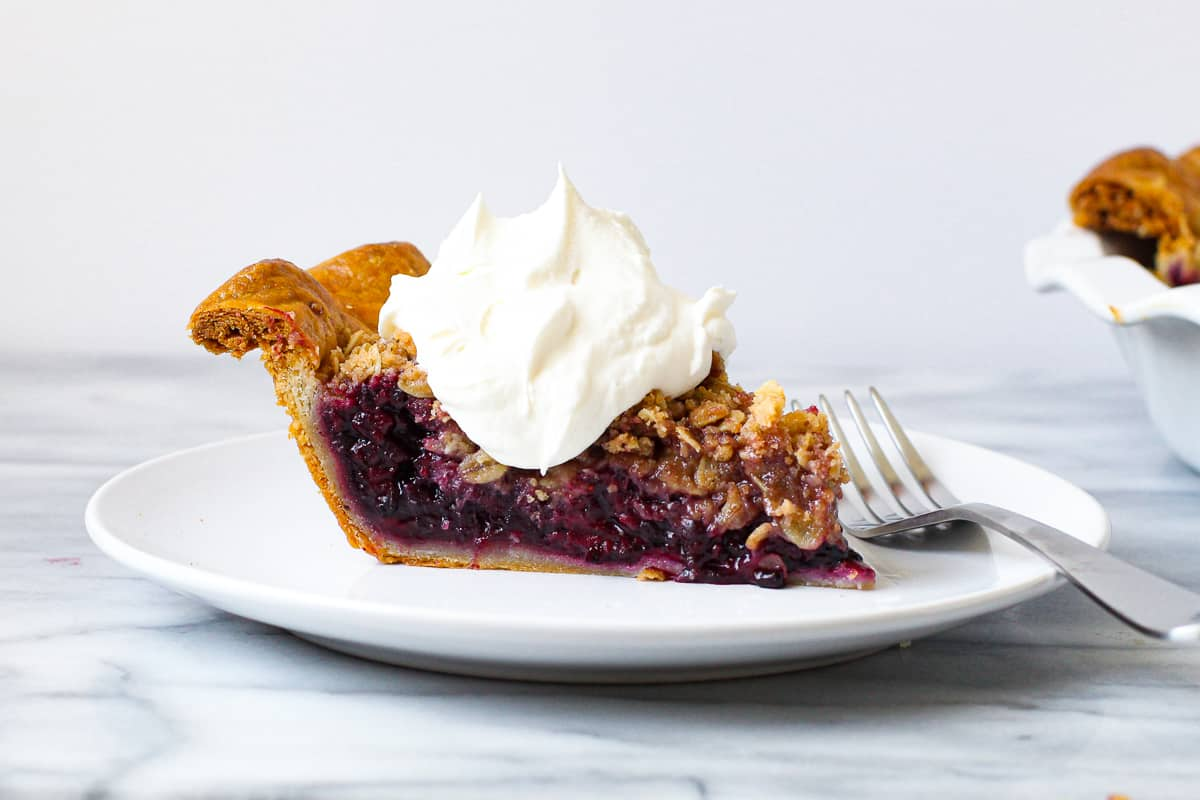 Fruit pie with stabilized whipped cream on it