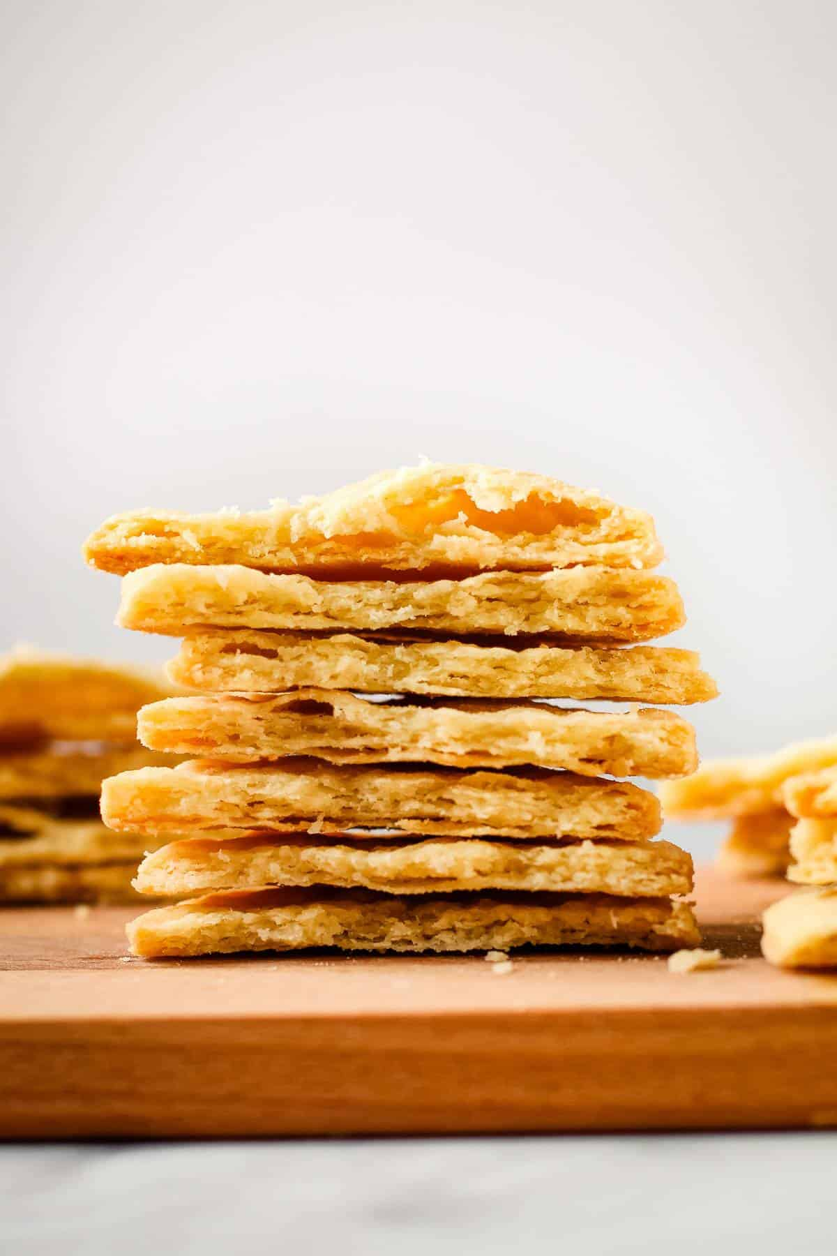 A stack of baked pate sucree pastries.