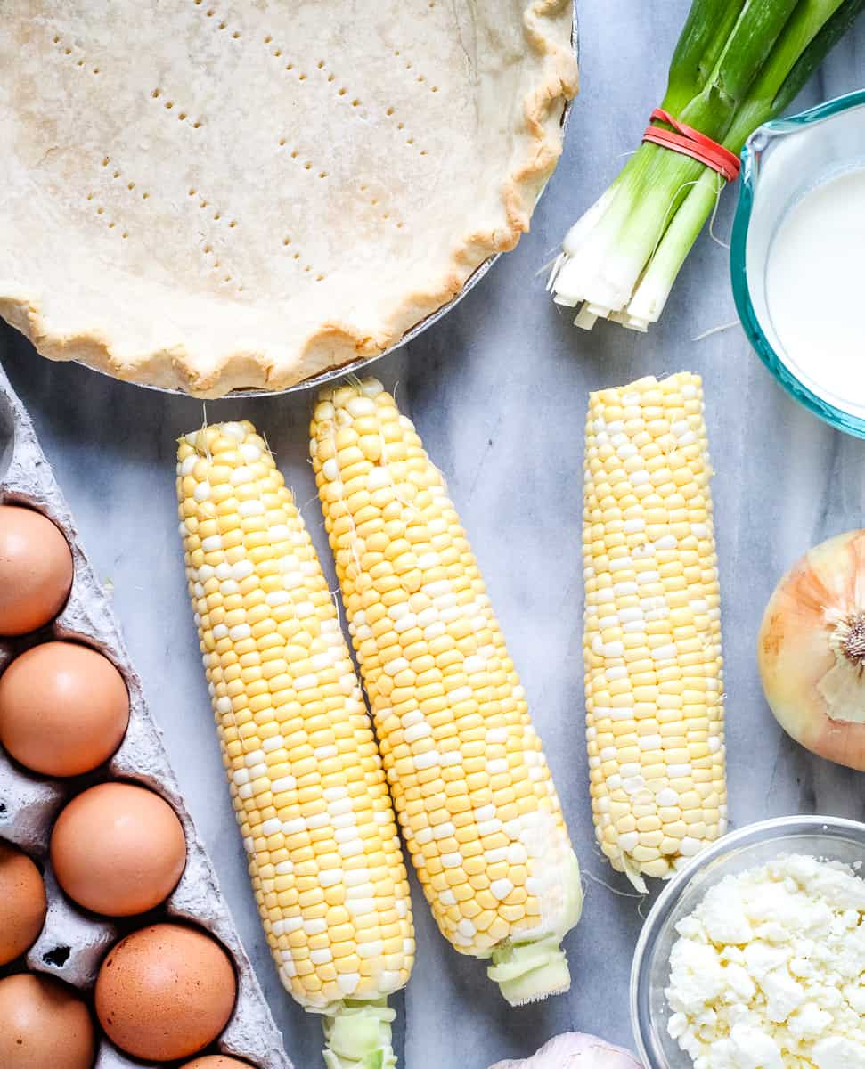 Ingredients for fresh corn pie