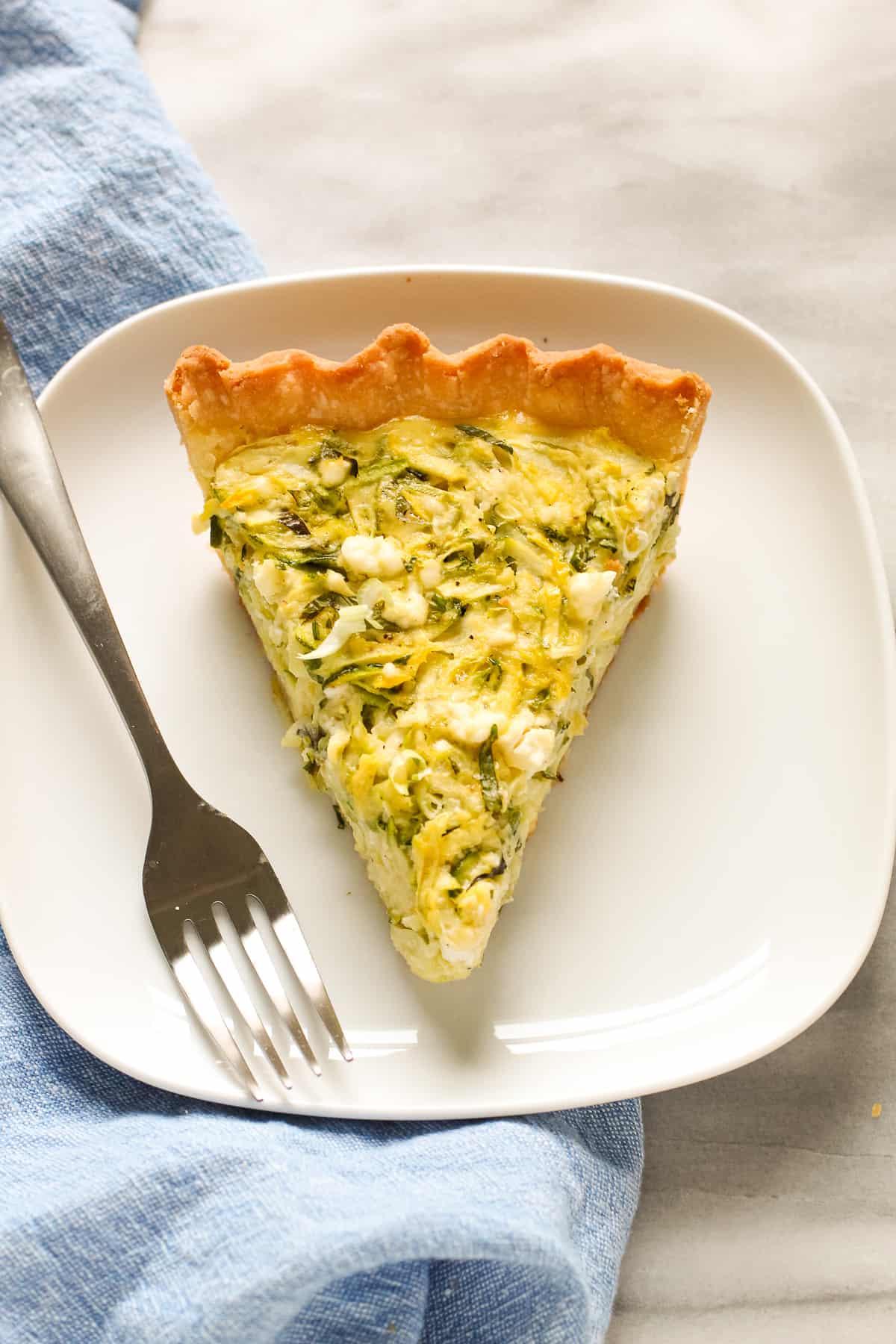 Slice of zucchini pie recipe