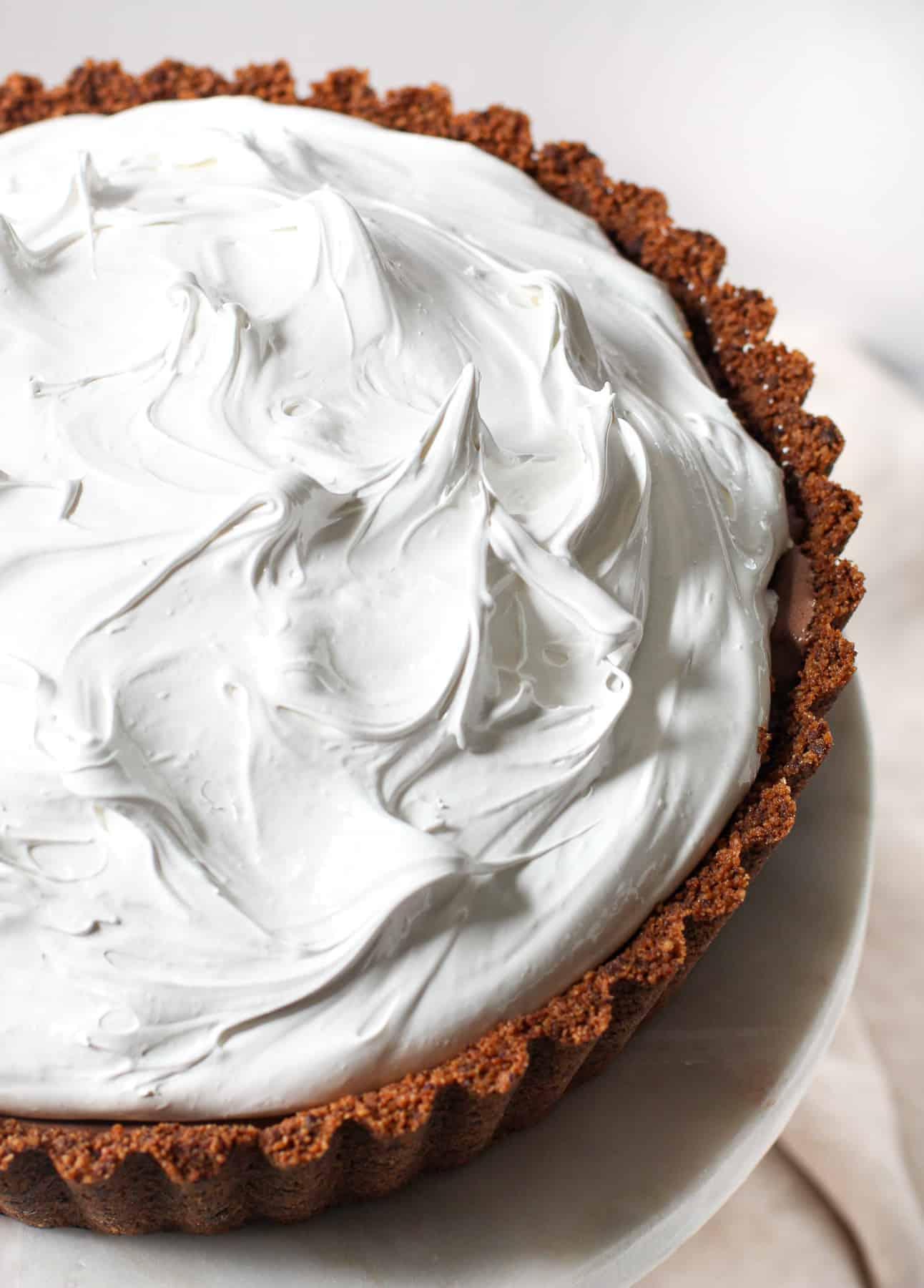 Swiss Meringue on top of a baked Alaska Pie
