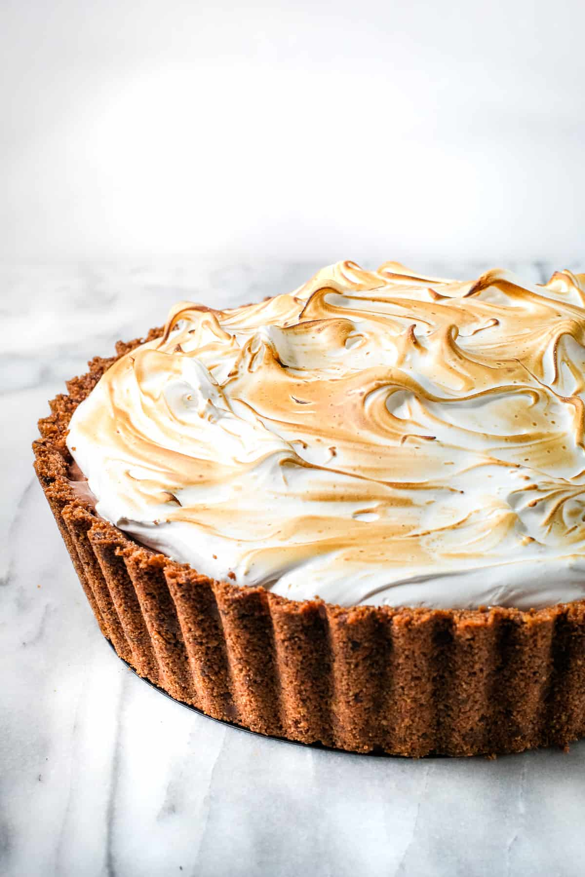 Toasted meringue on top of a pie