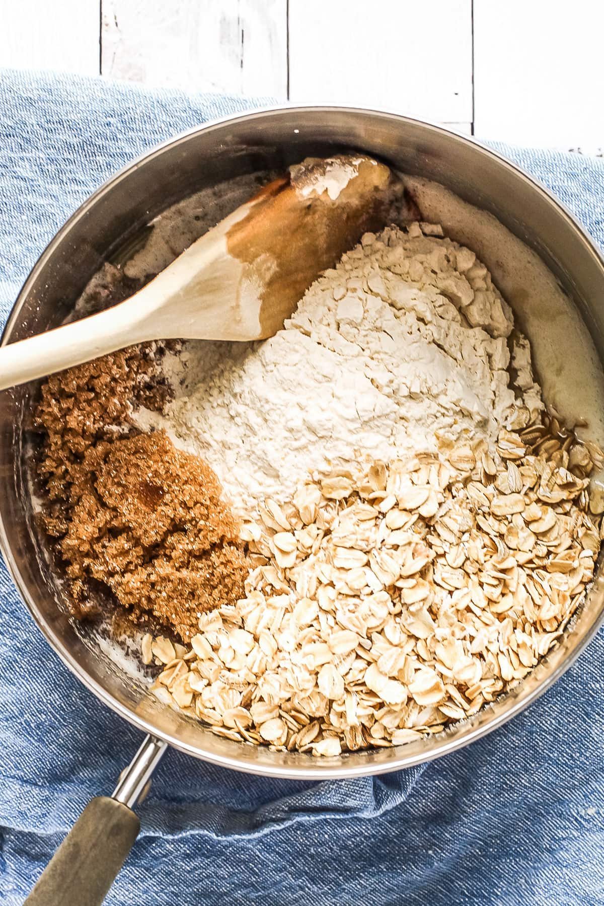 Ingredients for crumble topping being made directly in the pan.