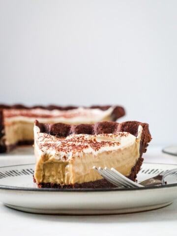 A slice of Coffee custard pie.
