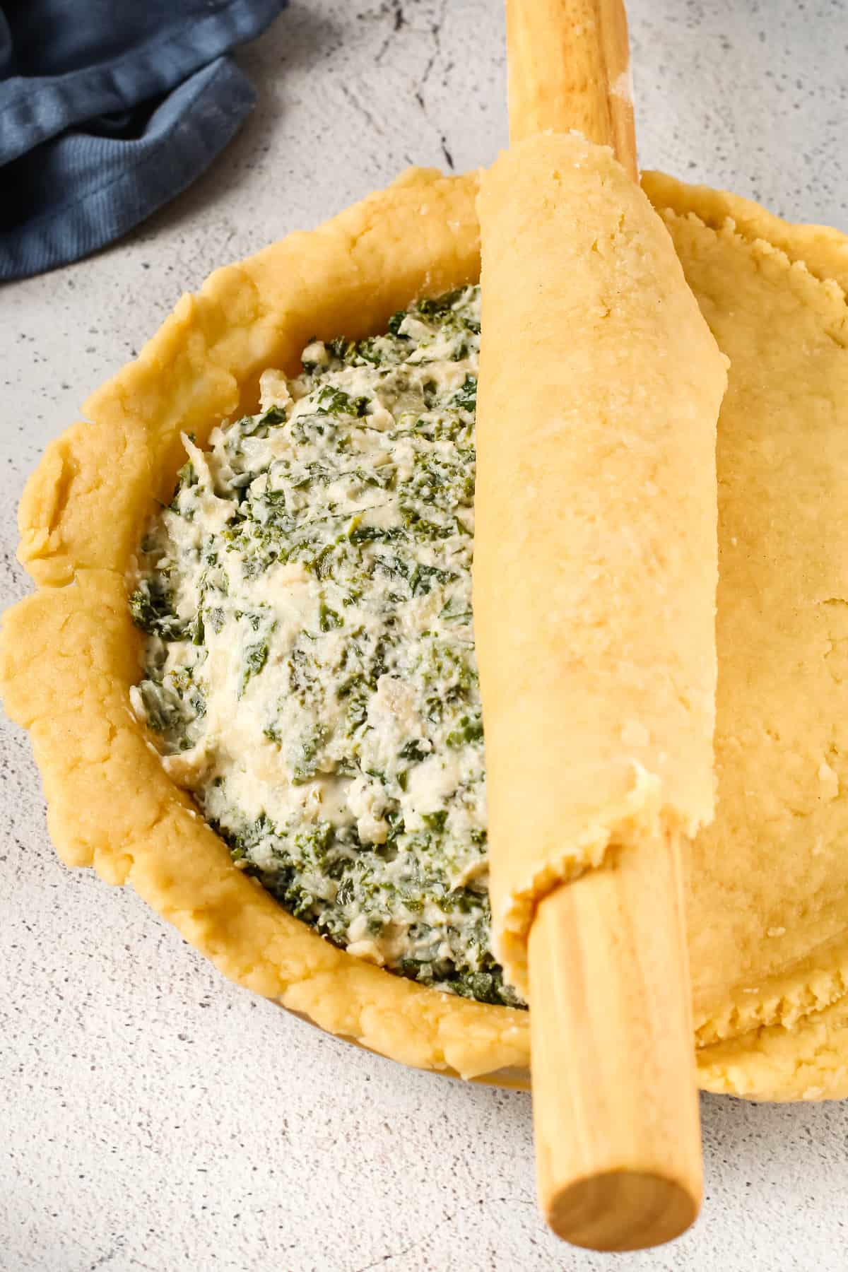 Kale pie filling with the olive oil pie dough rolled out