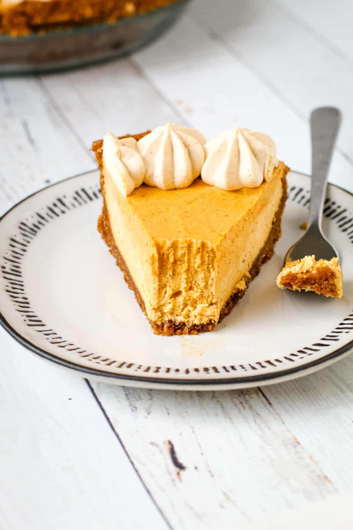 Creamy pumpkin pie recipe sliced up