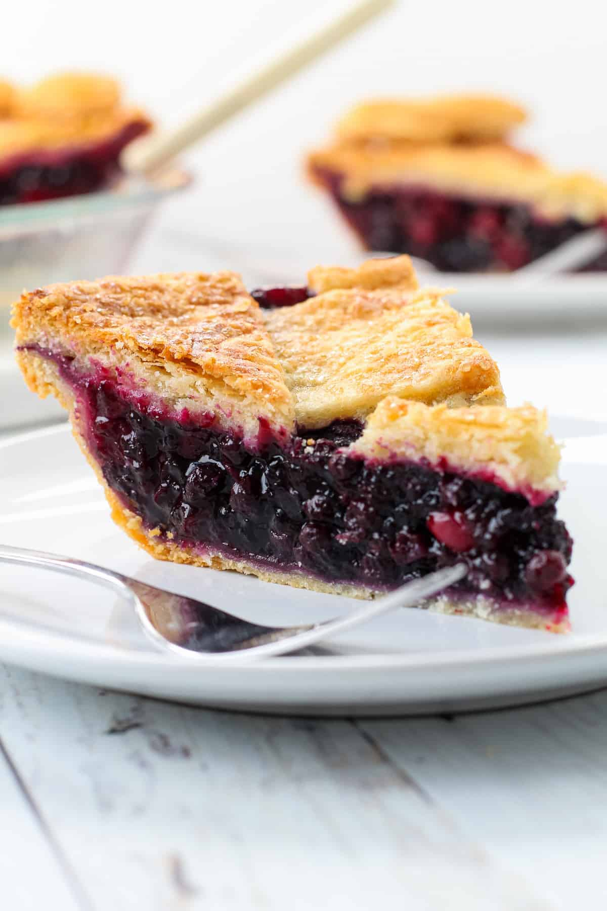 A slice of cranberry blueberry pie