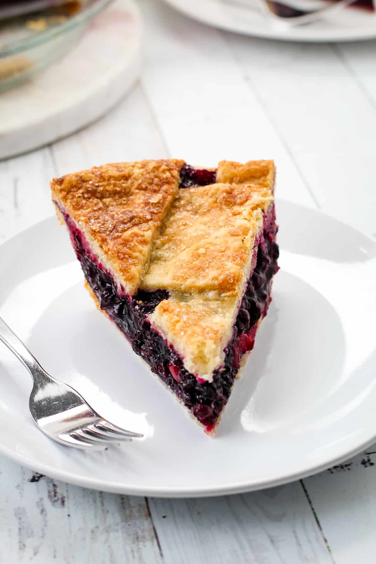 Lattice cranberry blueberry pie