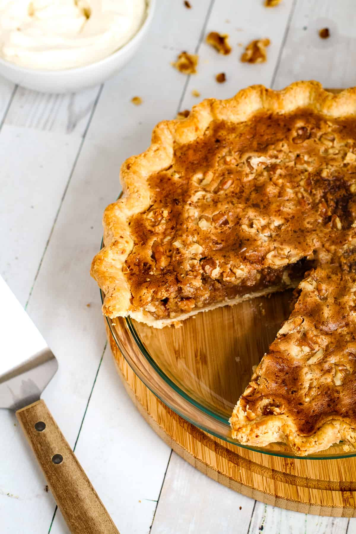 Easy walnut pie in a pie plate