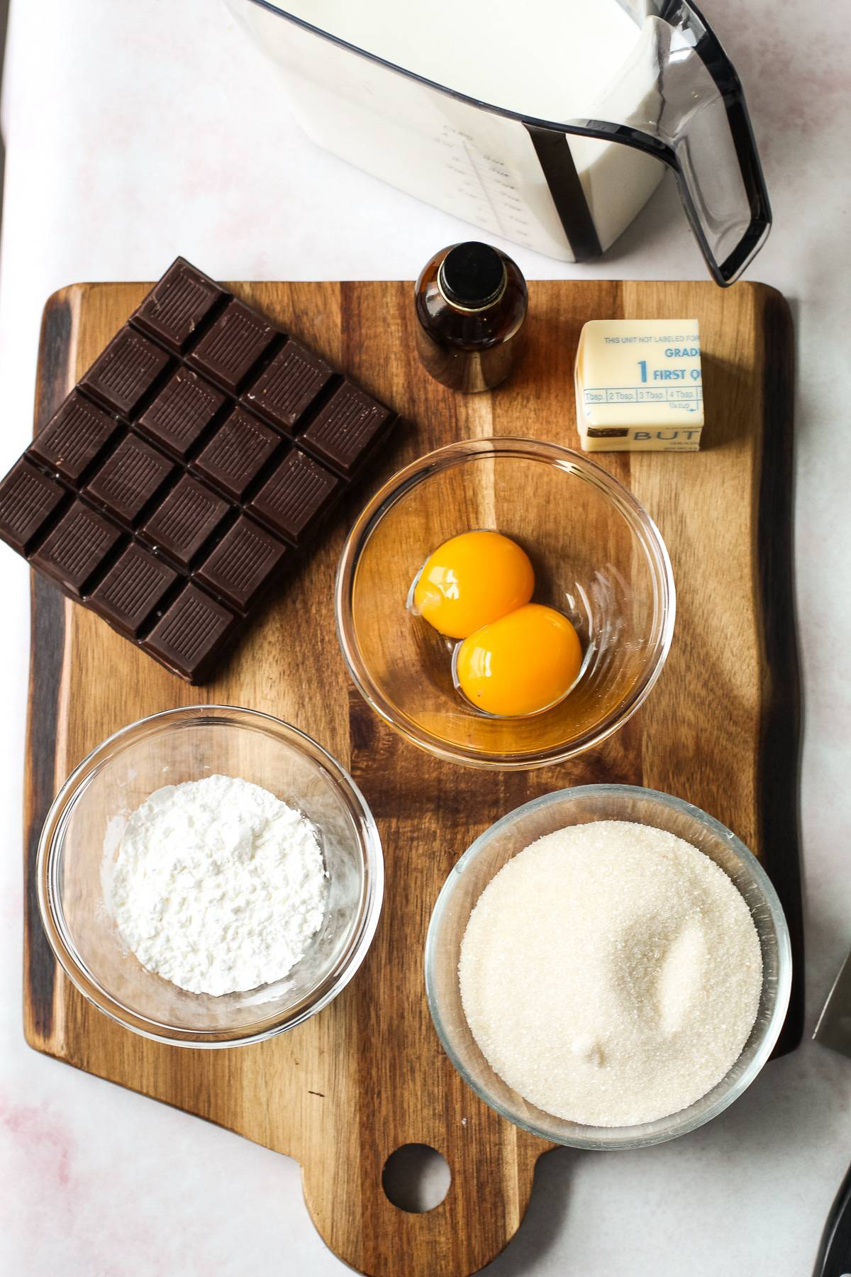 Ingredients for classic chocolate cream pie.