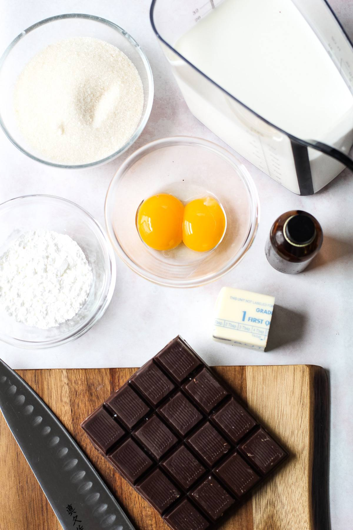 Ingredients for homemade chocolate pudding.