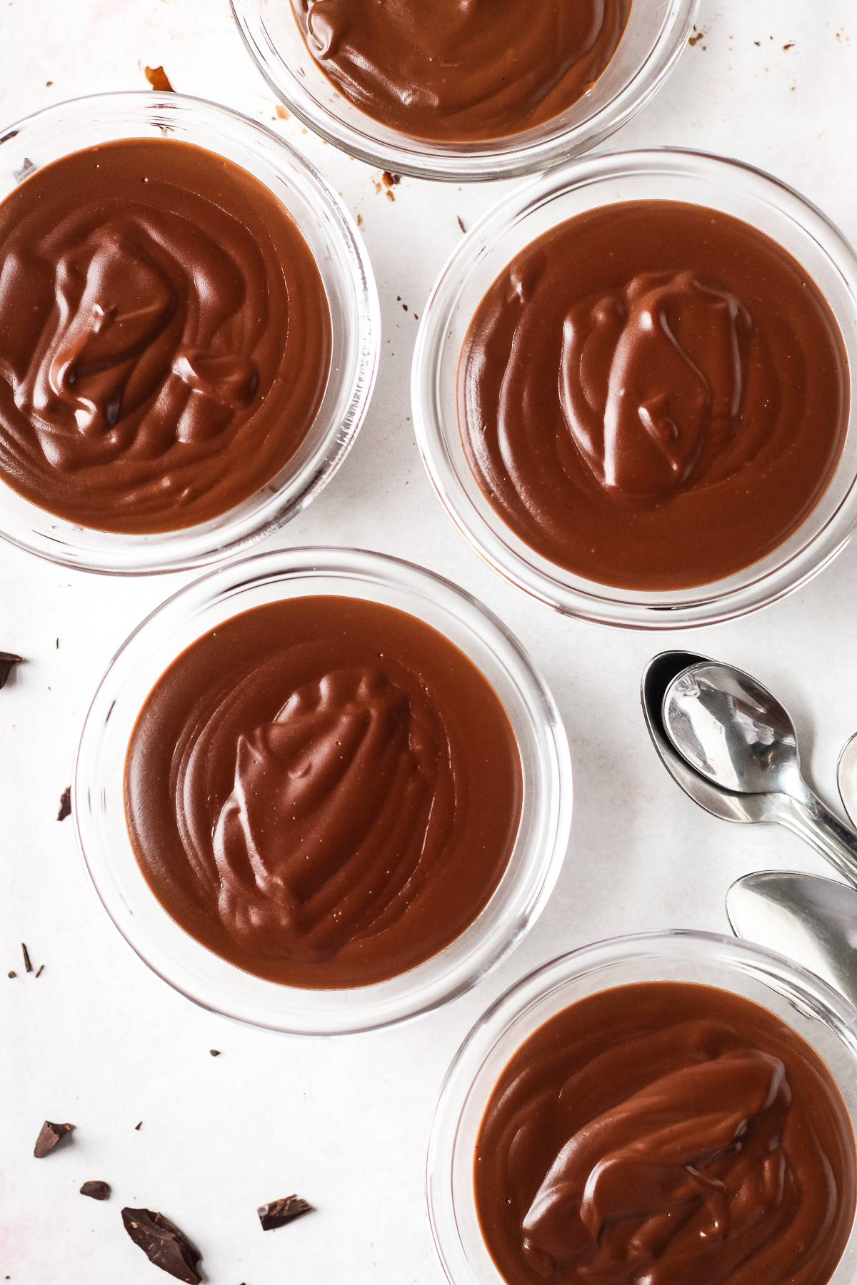 5 homemade chocolate pudding cups.