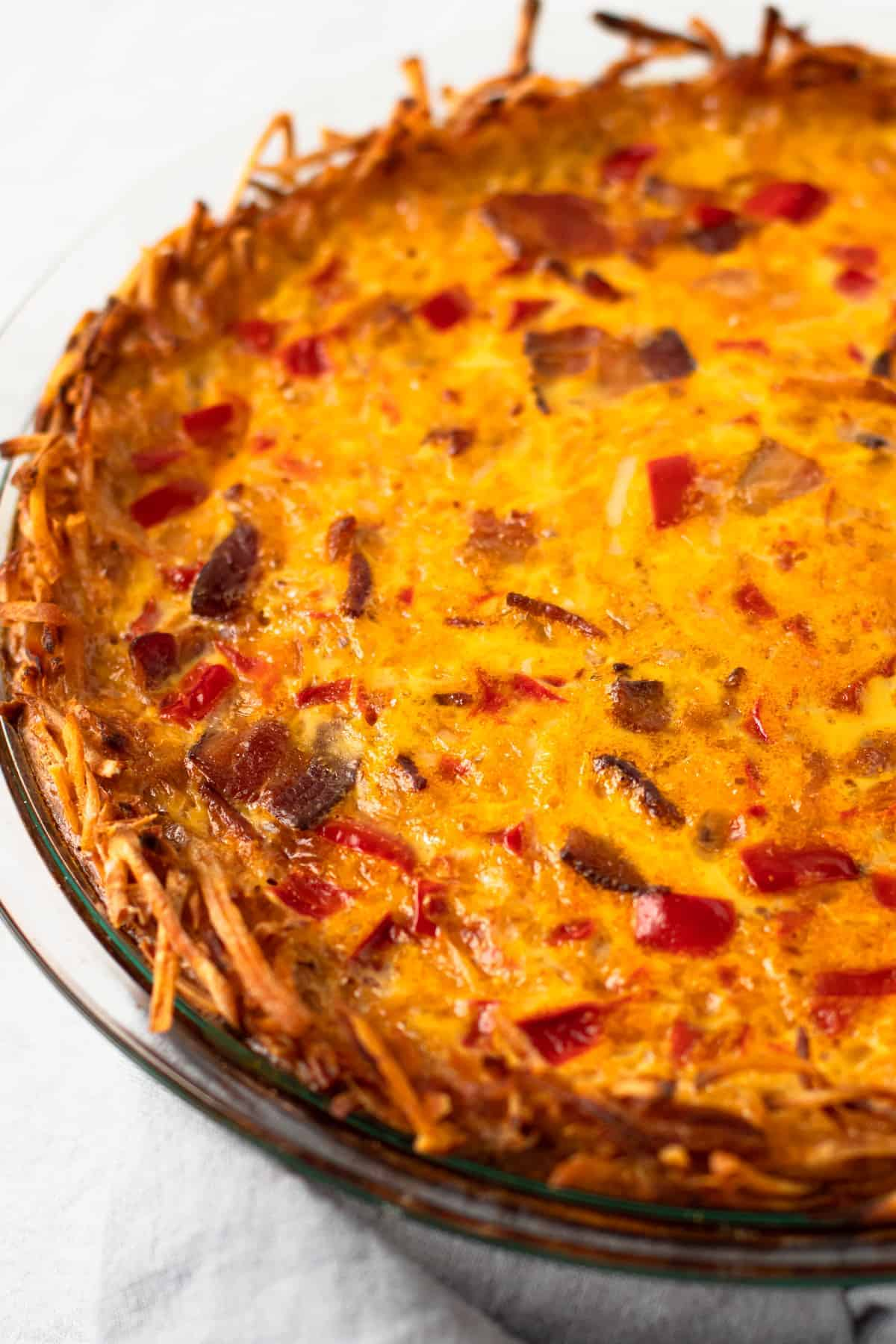 A baked breakfast pie.