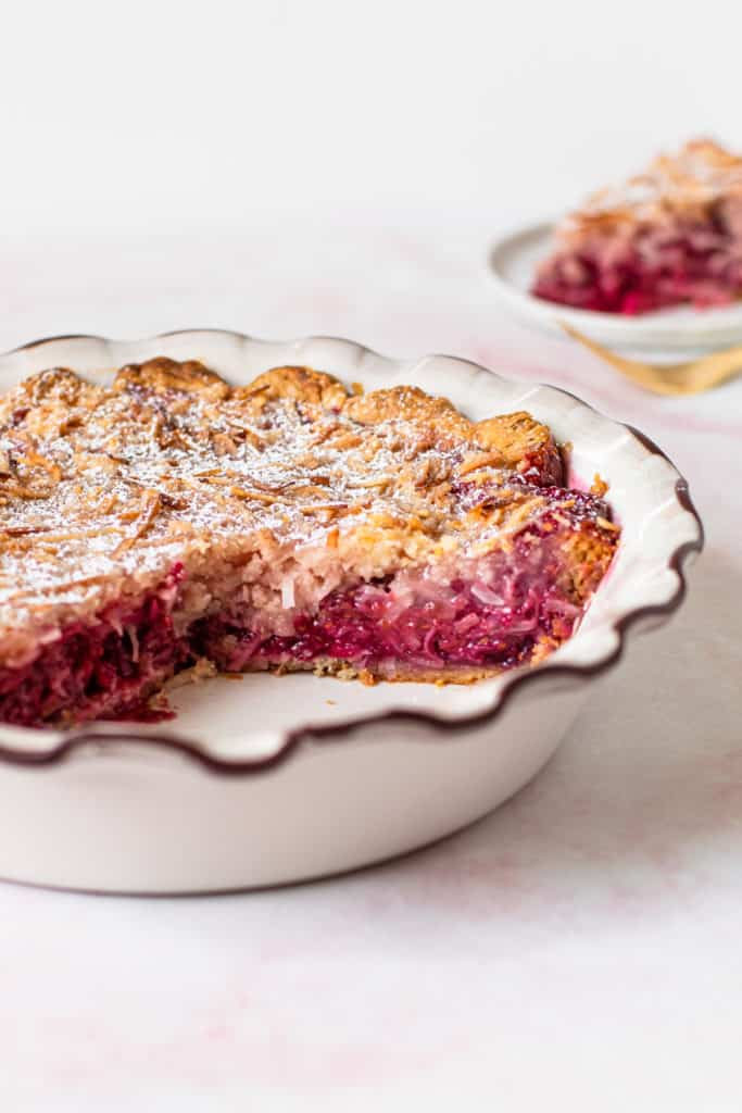 Raspberry coconut macaroon pie.