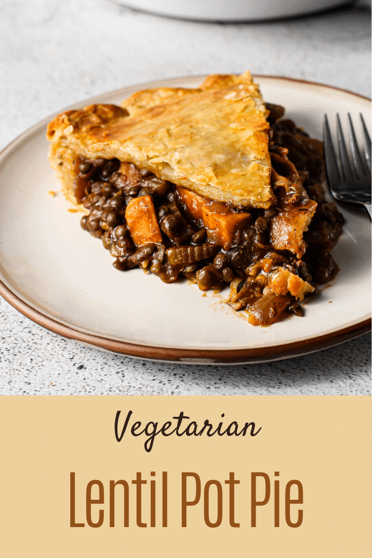 A slice of lentil pot pie with mushrooms and sweet potato.