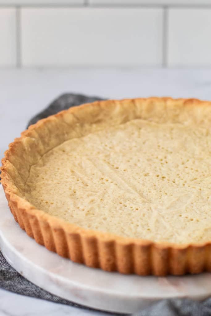 Fully baked Pate Sablee tart dough.