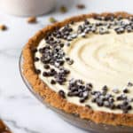 Cannoli pie with mini chocolate chips.