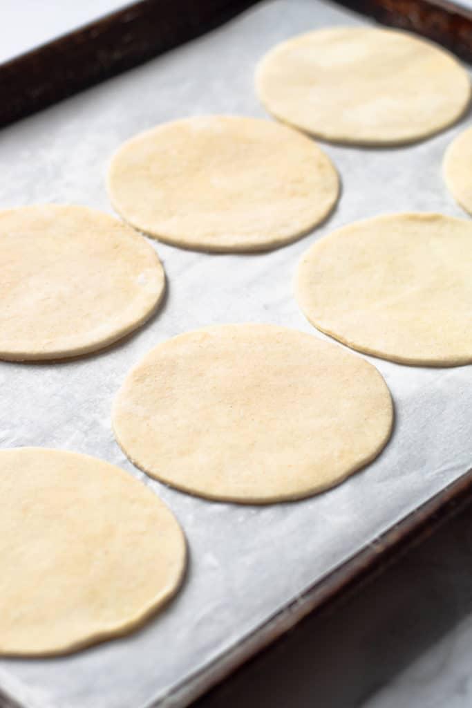 hand pie dough on a sheet tray