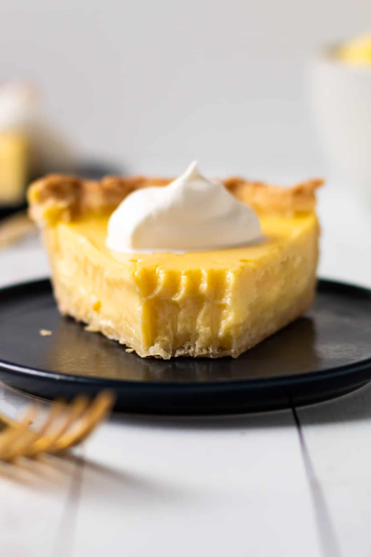 A slice of lemon custard pie.