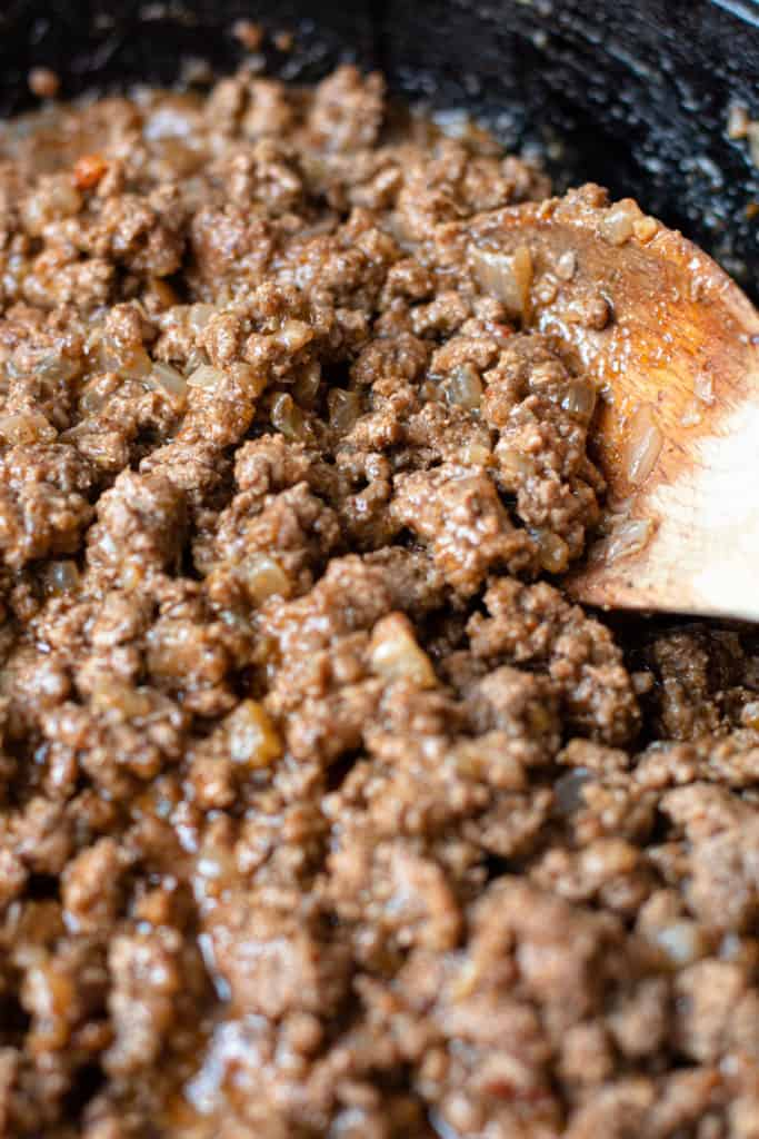 Cooked beef mixture for taco pie.
