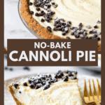 Pinterest image of no bake cannoli pie.