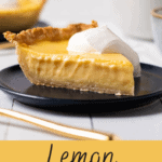 Lemon custard pie with whipped cream on top.
