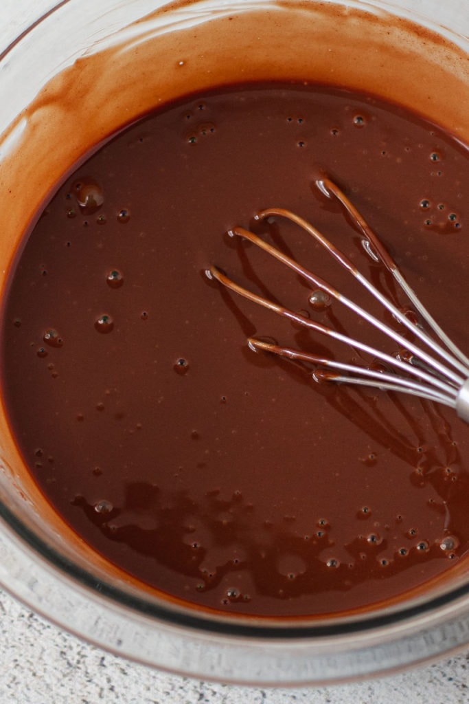 Chocolate ganache for eclair tart.