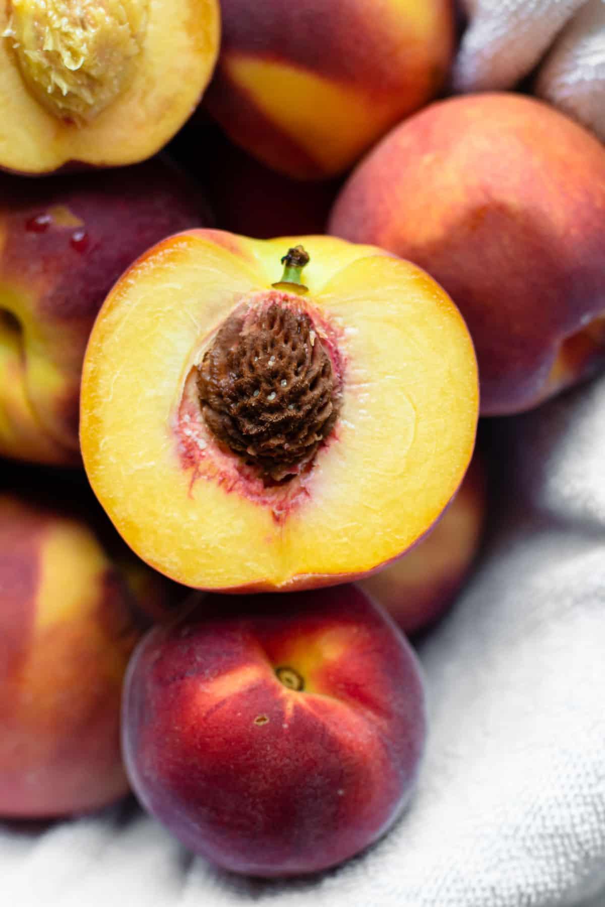 Prepped peaches for peaches cobbler.