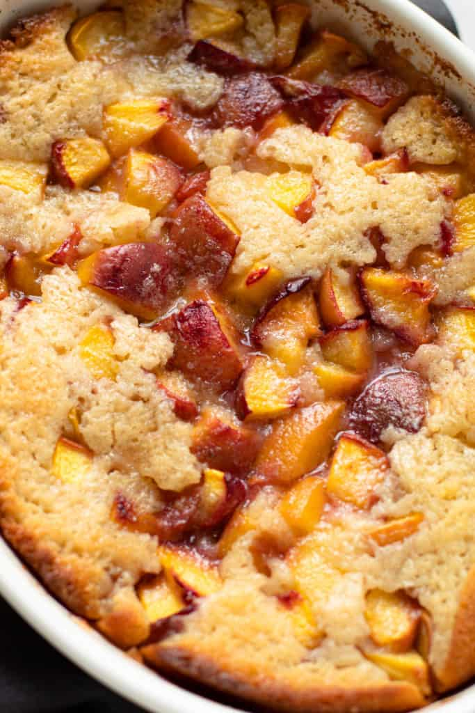 Homemade peach cobbler.