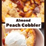 Peach cobbler with ice cream on top.