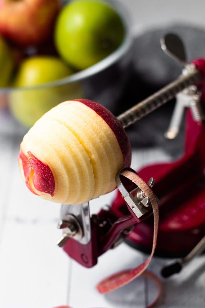 Apples being peeled.