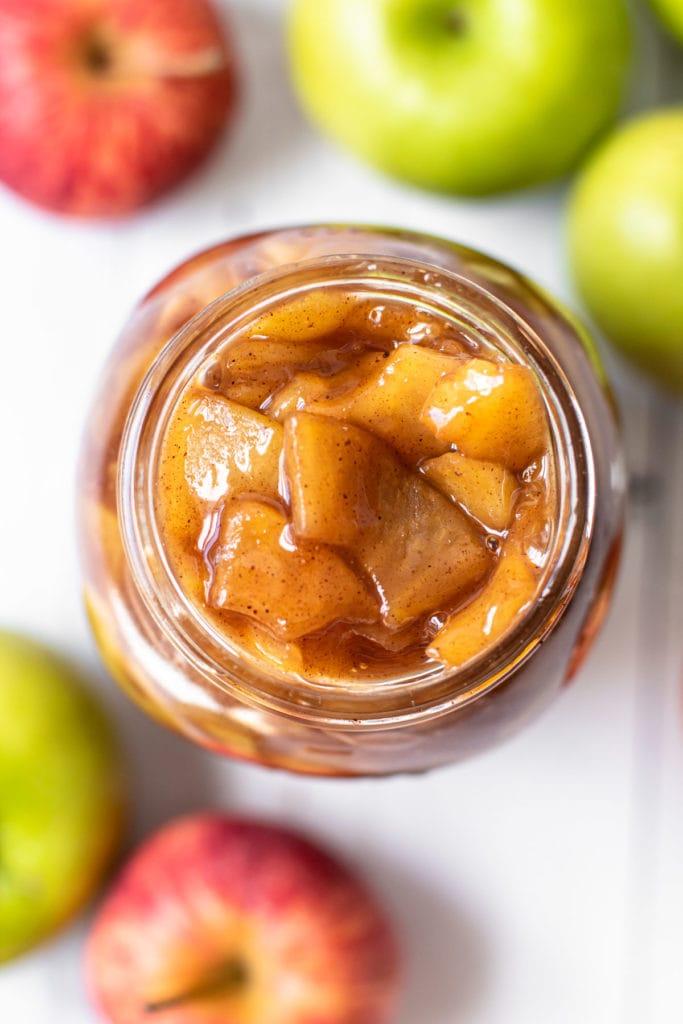 A jar of apple pie filling.