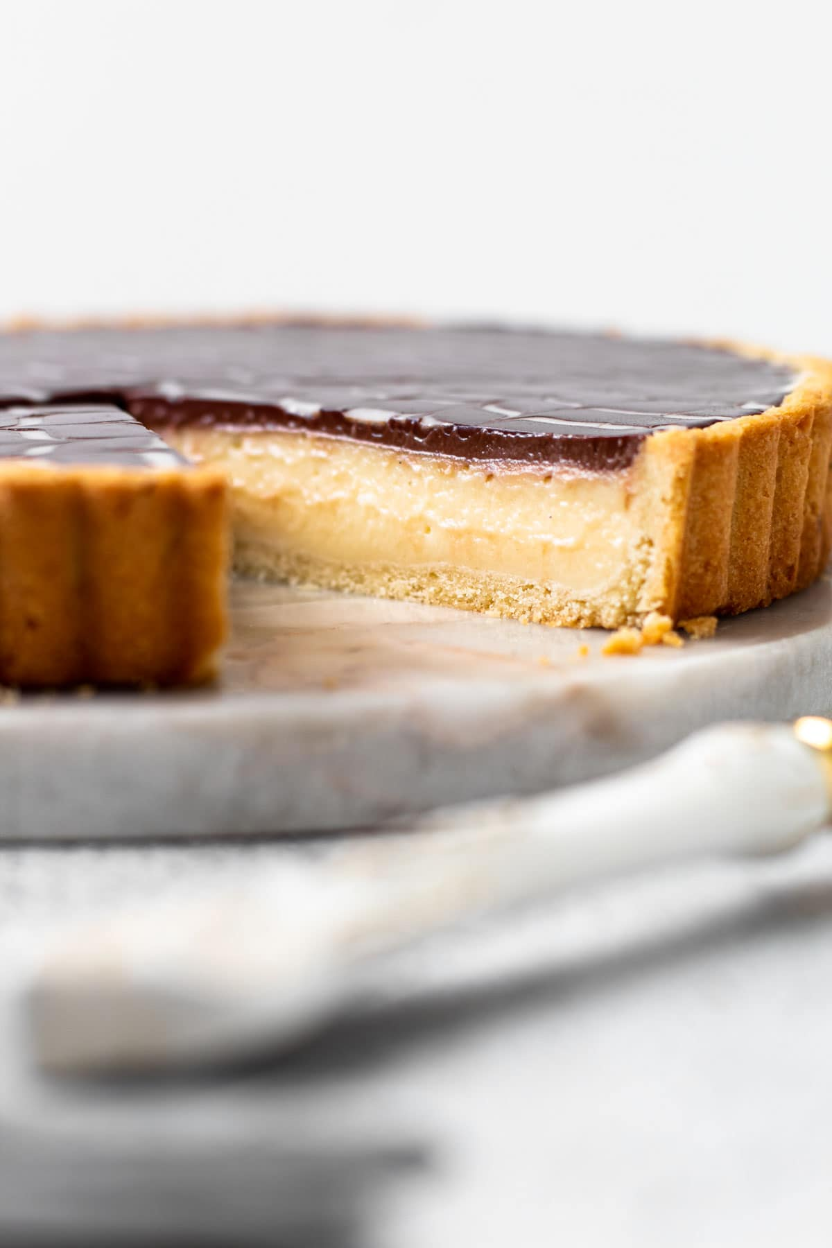 A profile view of the Eclair pie.