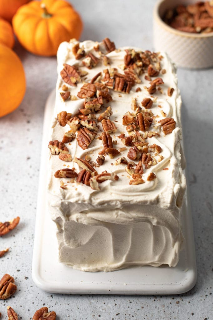 No Bake Pumpkin Cake with pecans on top.
