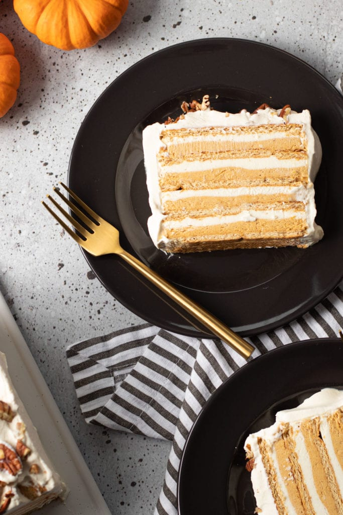 Slices of pumpkin icebox cake.