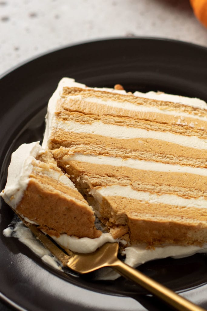 A slice of pumpkin icebox cake.