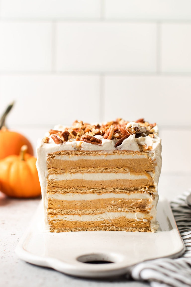 A slice of a pumpkin icebox cake with layers.