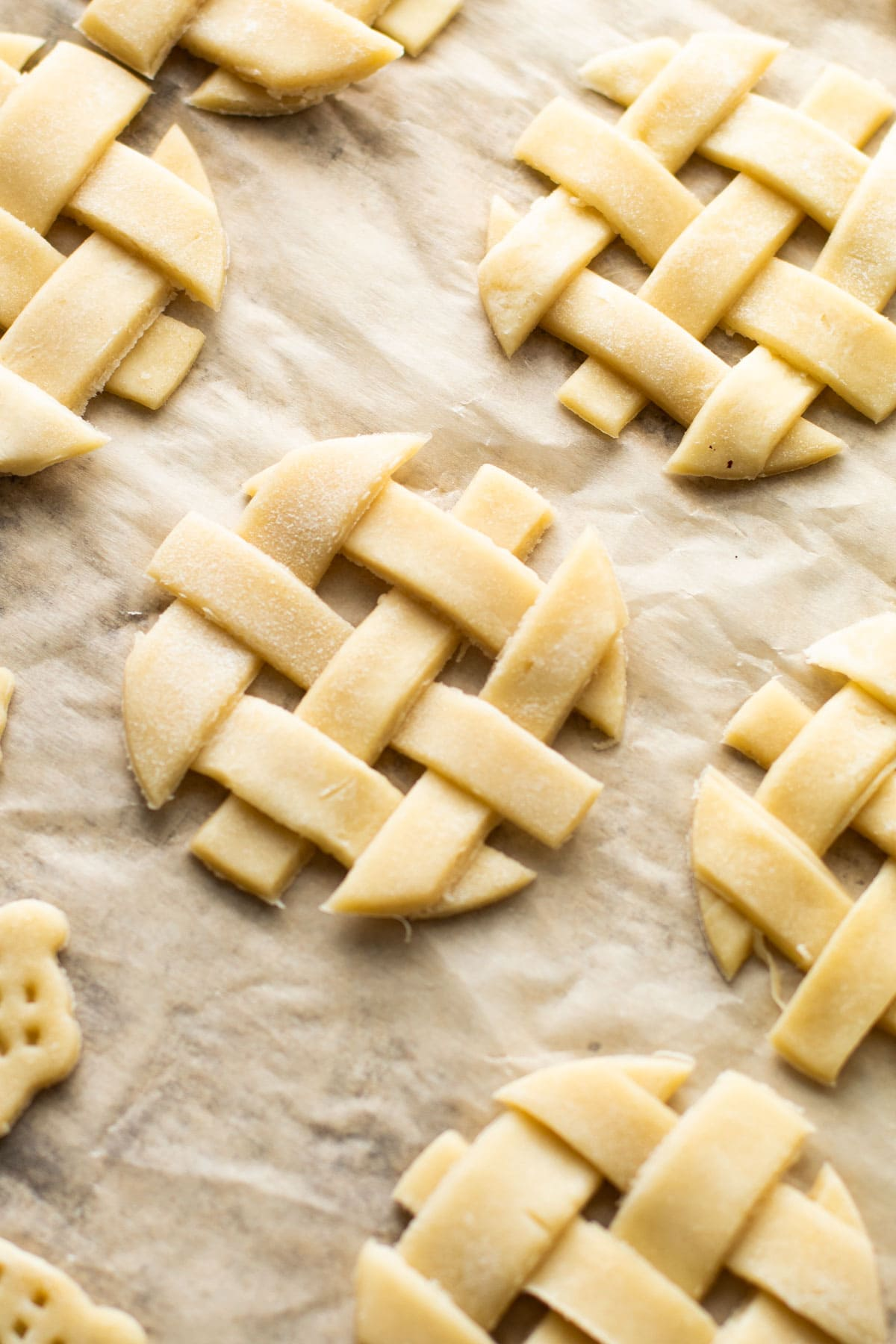 Lattice pie tops for a mini pie.