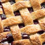 A lattice pie crust.