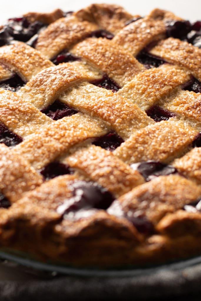 A baked lattice pie crust.